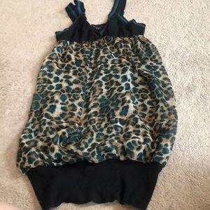 Blue leopard print tank top